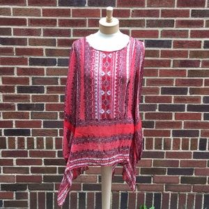 Sundance Flowy Embroidered Tunic Top Size L